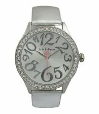 Womens Wrist Watch Silver Tone Leather Band Round Face Crystal Bezel Jade LeBaum