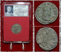 Roman Empire Coin GALLIENUS Sol Holding Globe On Reverse Silver Antoninianus