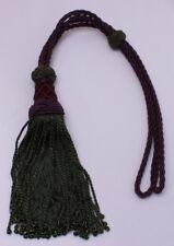 Drapery Tieback Purple Braided Curtain Tie Back with Green Tassels Beads M423.05