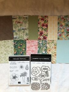 """Stampin Up! Timeless Tropical,In The Tropics Dies & Tropical Oasis DSP~12(6""""x6"""")"""