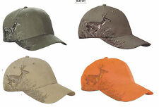 Deer Hunting Running Buck Whitetail embroidered scene Hat Cap