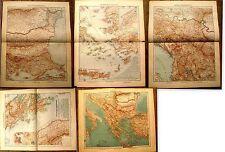 Carte geographique Peninsule des Balkans ,1910,lot de 5 planches grand format