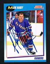Mark Hardy #453 signed autograph 1991-92 Score Hockey Canadian Release Card