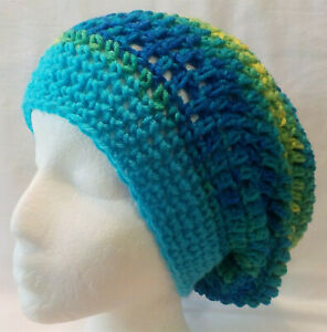"""Slouchy Beanie Tam Hat Handmade """"NEW"""" Shades of Blue fits adults & teens Unisex"""