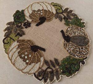 "NICOLE MILLER 15"" rd. white beaded pumpkin leaf border jute base placemats NWT"