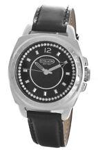 Coach Women's Black Dial Silver Case black Leather Strap Watch CA.09.7.14.0469