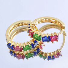 Fashion Womens jewelry Yellow gold Filled rainbow Crystal Cute Hoop Earrings