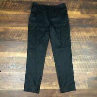Alice + Olivia Black Shiny Ankle Zip Slim size 4 Career Women's Dress Pants