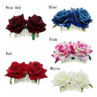 Bridal Boho Rose Flower Hair Comb Clip Hairpin Wedding Accessories Ha Party P4O1