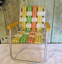 Vtg Childs size webbed Folding Outdoor Aluminum Lawn Chair Yellow Green white