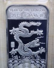 2012 Year of the Dragon 1oz Fine .999 Silver Bar Bullion Positive Chinese Saying