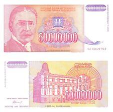 Yugoslavia 50 Million Dinara 1993 1st Prefix 'AA'  P-133 Banknotes UNC