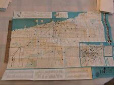 Rare 1957 Trolley Subway Bus Chicago Surface Lines Map Brochure Timetable