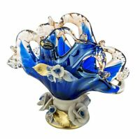 Murano Glass Napkin Holder Vase Centerpiece Capodimonte Porcelain Flowers - Blue