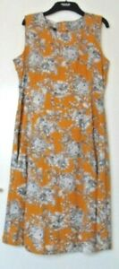 Maine Mustard Coloured Lined Cotton/Viscose  Dress Size 14