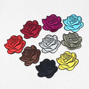 2/50Pcs Embroidered Rose Patches Iron-on Sew-on Applique Patch DIY Clothes Badge