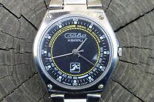 Vintage Unique SLAVA Quartz (Слава Кварц) Black Dial USSR Watch. Runs Perfectly.