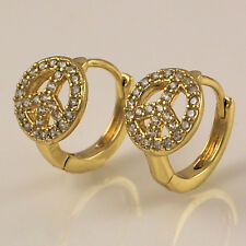 14ct Gold Filled Clear CZ Zirconia Crystal Peace 13mm Huggie Hoop Earrings 319