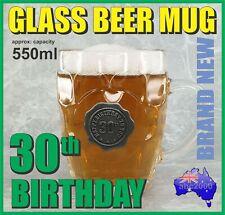 30th BIRTHDAY GLASS BEER MUG STEIN TANKARD WITH HANDLE HOME BAR GREAT GIFT