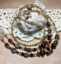Handmade Stone Eyeglass Chain/Lanyard W/Swarovski Elements & Lampwork Glass USA