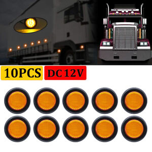 10X Amber 10 LED 2 Inch Round Clearance Side Marker Light Lorry Truck RV 12V DC