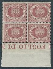 1894-99 SAN MARINO STEMMA 10 CENT QUARTINA MNH ** - VA6
