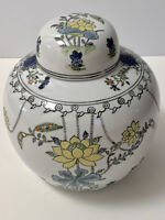 """Porcelain White Ginger Jar Floral Motif In Purple Yellow And Gold 7.5"""" Tall Lid"""