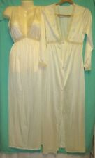 Vtg 60s 70s M Night Gown Robe 2 pc set Lace Peignoir Negligee Cream Nylon Union