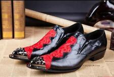 Retro Chic Men's Pointed Metal Toe Rivet Color Stitching  Leather Dress Shoes