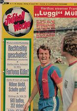 Fußball Woche 4/1974,Bundesliga,MSV DUISBURG POSTER,Cajkovski,Luggi Müller,WM 74
