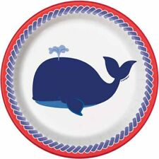 SUMMER Nautical Whale SMALL PAPER PLATES (8) ~ Birthday Party Supplies Dessert  sc 1 st  eBay & Nautical Paper Party Plates | eBay