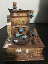 Vtg Music Musical Box Teddy Bear Care Bears? Study Time Wind Up Children Toy