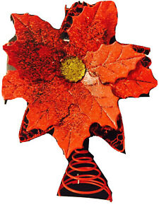 12 In Christmas Shoppe Tree Topper  Red Metal Poinsettia