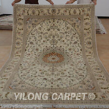Yilong 6'x9' Handmade Wool Silk Area Rug Ivory Traditional Handiwork Carpet 1445