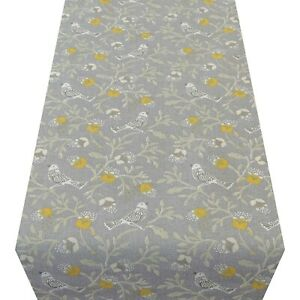 Dainty Songbird Table Runner. Ochre Yellow & Grey Birds and Leaves. Two Sizes.