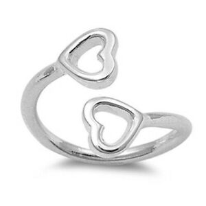 Hearts Toe Ring Face Height 12 mm Solid Genuine Sterling Silver 925 Jewelry