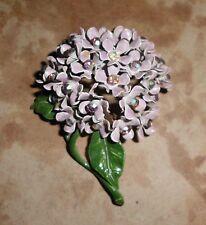 VTG* LAVENDER VIOLET FLOWERS NOSEGAY HALF CIRCLE BROOCH PIN; Lavender Enamel