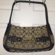 Coach Purse Signature C Logo Brown Khaki Leather Trims EUC VHTF