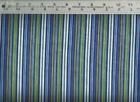 Benartex ~ Sharp Blue Green Yellow & White Stripes  100% Cotton Quilt Fabric BTY