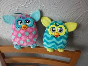 Hasbro Furby Blue/ pink Plush Soft Toy 2015 Approx 8 Inches + yellow/blue Furby