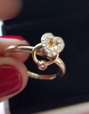 14k yellow Gold Genuine Pandora Heart Diamond Ring with Rhodolite charm150146