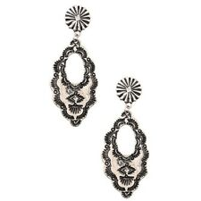New Western Style Oval Silver Concho Dangle Earrings Cowgirl Large Earring
