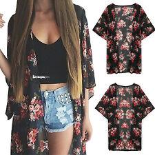 Womens Floral Loose Shawl Vintage Kimono Cardigan Boho Chiffon Jacket Blouse Top