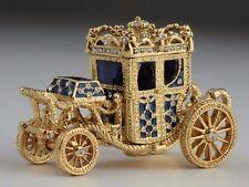 Blue Faberge  Carriage Trinket Box by Keren Kopal with Austrian Crystal