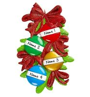 NAME PERSONALIZED Christmas Balls Family of 4 Christmas Tree Ornament
