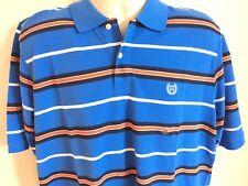 Chaps Brand Polo Shirt Blue w/ Orange Stripes 100% Cotton Big & Tall Mens L-Tall