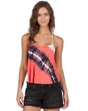 2016 Nwt Womens Volcom Paintbox Tank Top $40 S grapefruit pink navy blue tie dye