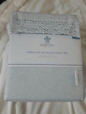 Simply Shabby Chic Linen-Cotton Sheet Set blue (king) New see description please
