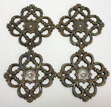 "Set of 4 Vintage 3.5"" Decorative Brass Escutcheon Plates - READ INFO!!! (RF744)"