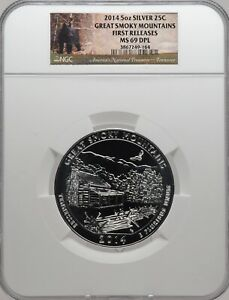 2014 5oz SILVER 25C Great Smoky Mountains NGC MS 69 DPL First Releases must see!